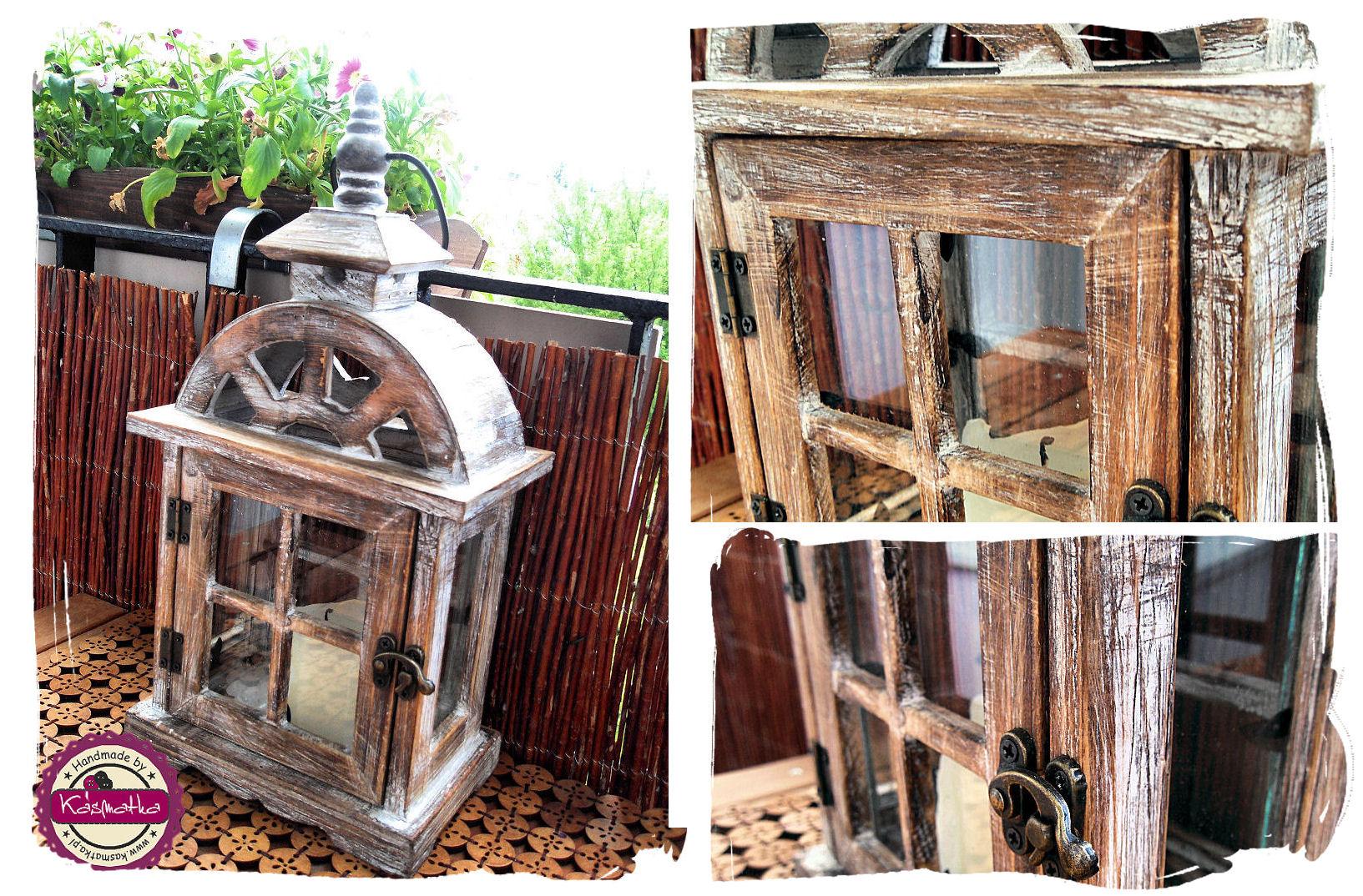 drewniany lampion ogrodowy